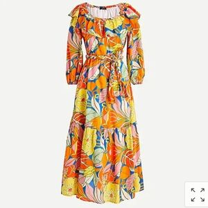 J crew belted tropical dress